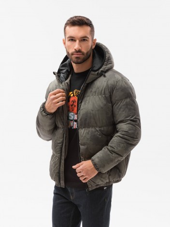 Ombre Clothing Pánská zimní bunda Therese khaki