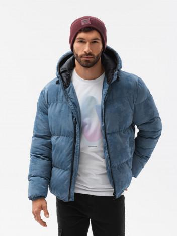 Ombre Clothing Pánská zimní bunda Therese modrá