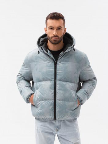 Ombre Clothing Pánská zimní bunda Therese světle modrá