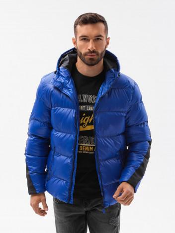Ombre Clothing Pánská zimní bunda Aslog modrá