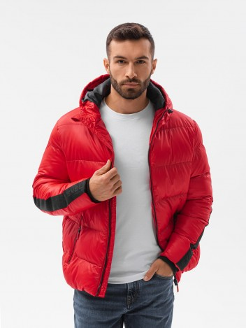 Ombre Clothing Pánská zimní bunda Aslog červená