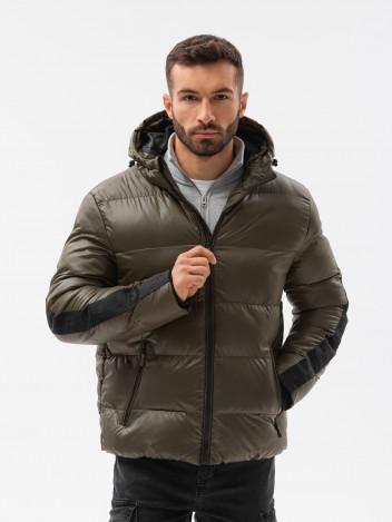 Ombre Clothing Pánská zimní bunda Aslog olivová