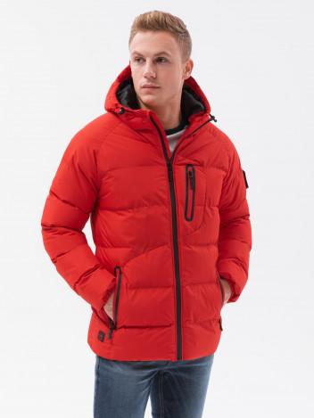 Ombre Clothing Pánská zimní bunda Helny červená