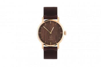 BeWooden Dřevěné hodinky s řemínkem z pravé kůže Aurum Watch červená