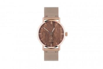 BeWooden Dřevěné hodinky s řemínkem z pravé kůže Rose Watch
