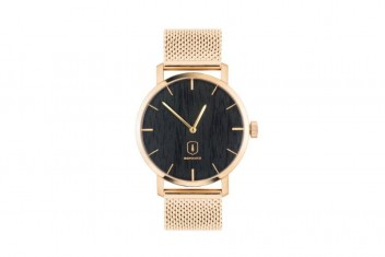BeWooden Dřevěné hodinky s kovovým řemínkem Sunset Watch
