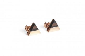 BeWooden Náušnice s dřevěným detailem Rose Earrings Triangle béžová