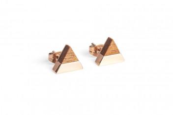 BeWooden Náušnice s dřevěným detailem Rea Earrings Triangle šedá