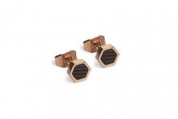 BeWooden Náušnice s dřevěným detailem Rose Earrings Hexagon