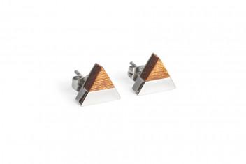 BeWooden Náušnice s dřevěným detailem Red Earrings Triangle šedá