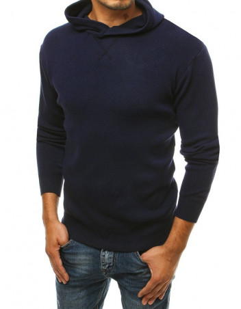 Dstreet Pánský svetr s kapucí Reine tmavě modrá
