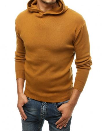 Dstreet Pánský svetr s kapucí Reine camel