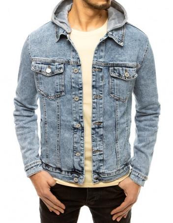 Dstreet Pánská džínová bunda s kapucí Silvana nebesky modrá