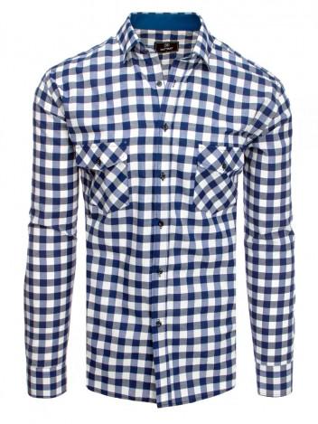 Dstreet Pánská kostkovaná košile Phollipine bílo-tmavě modrá