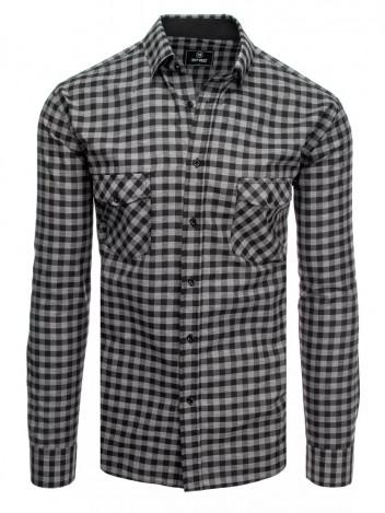 Dstreet Pánská kostkovaná košile Phollipine černo-šedá