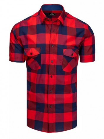 Dstreet Pánská košile s krátkým rukávem Juldagen navy-červená