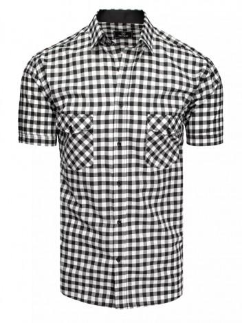 Dstreet Pánská košile s krátkým rukávem Vlenan černo-bílá