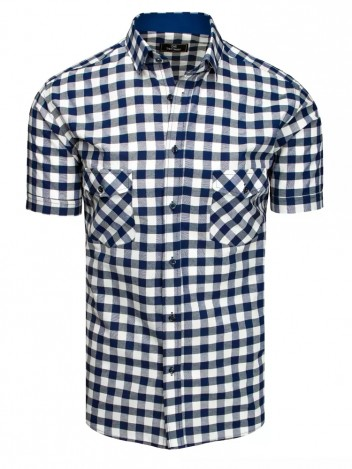 Dstreet Pánská košile s krátkým rukávem Franan navy-bílá