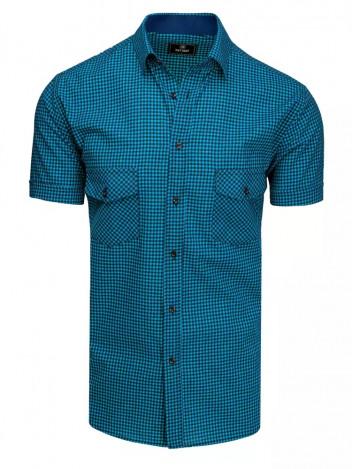 Dstreet Pánská košile s krátkým rukávem Tolas černo-nebesky modrá