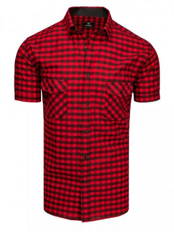 Dstreet Pánská košile s krátkým rukávem Israel černo-červená