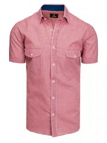 Dstreet Pánská košile s krátkým rukávem Abraham červeno-bílá