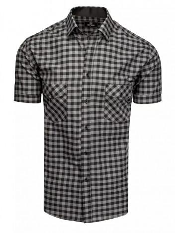 Dstreet Pánská košile s krátkým rukávem Stig černo-šedá