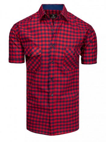 Dstreet Pánská košile s krátkým rukávem Gottfrid navy-červená