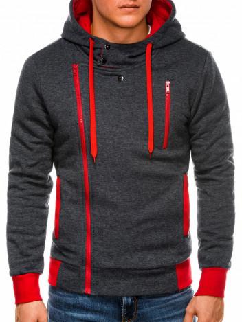 Pánská mikina na zip s kapucí Chandler tmavě šedo-červená