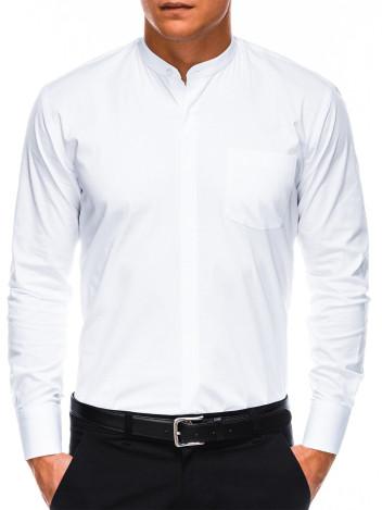 Ombre Clothing Pánská elegantní košile s dlouhým rukávem Band bílá