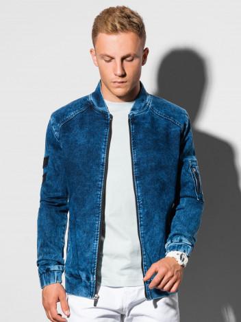 Ombre Clothing Pánská úplá jeansová bunda bez kapuce Foster