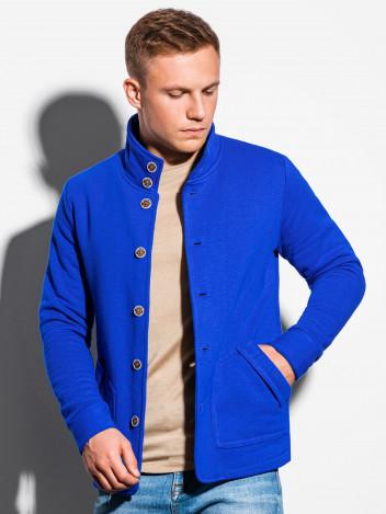 Ombre Clothing Pánská mikina na knoflíky Carmelo modrá