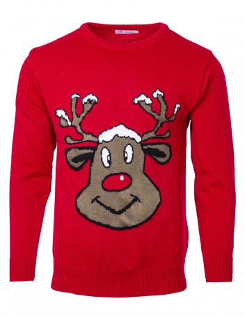Pánský svetr se sobem Reindeer tmavě zelený S