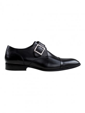 Pánské kožené monk shoes se sponou Theloni černé vel. 40
