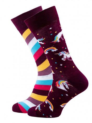 Veselé vzorované ponožky The Unicorn bordó vel. 35-38
