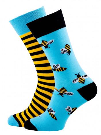 Veselé unisex ponožky Bee multicolor vel. 35-38