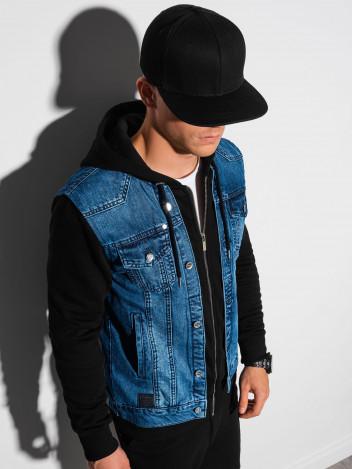 Ombre Clothing Pánská přechodová džínová bunda Brayden džínová-černá