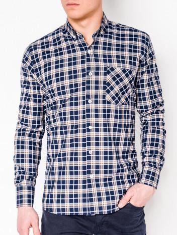 Ombre Clothing Pánská kostkovaná košile s dlouhým rukávem Cage navy-hnědá