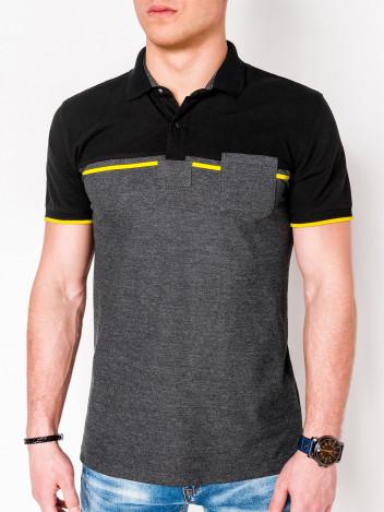 Pánské polo tričko s límečkem Royce černo-tmavě šedé