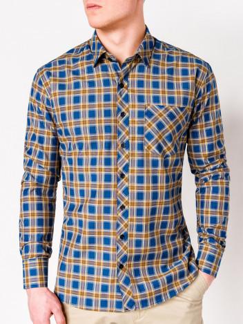 Ombre Clothing Pánská károvaná košile Roger žlutá