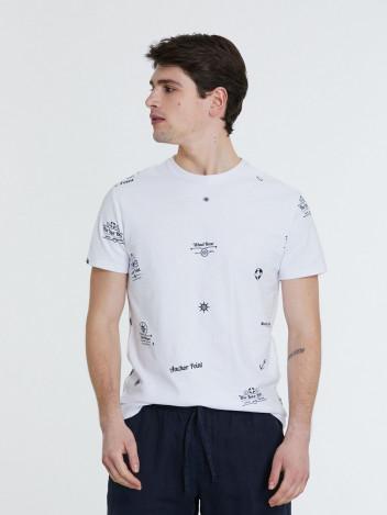Piazza Italia Pánské tričko Anchor bílé