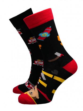 Pánské ponožky Fireman černo-červené