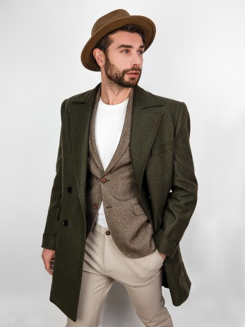 Pánský kabát Jacobe tmavě zelený