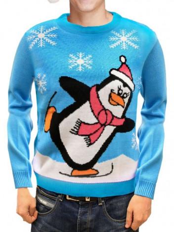Vánoční svetr Penguin světle modrá