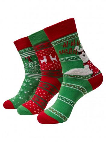 Sada pánských ponožek Lama červeno-zelené