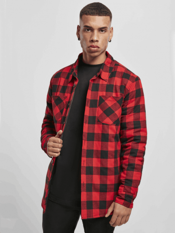 Urban Classics Pánská košilová flanelová bunda Ritva červena