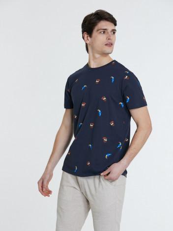 Piazza Italia Pánské tričko Tucan tmavě modré