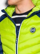 Ombre Clothing Pánská prošívaná zimní bunda Freud světle zelená