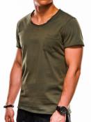 Ombre Clothing Pánské tričko bez potisku Lukhain zelené