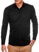 Ombre Clothing Pánská elegantní košile s dlouhým rukávem Supreme černá