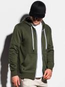 Ombre Clothing Pánská mikina na zip Keegan khaki